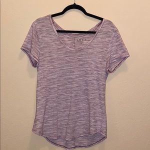 Size Medium • LOFT • Maroon/Purple and White tee